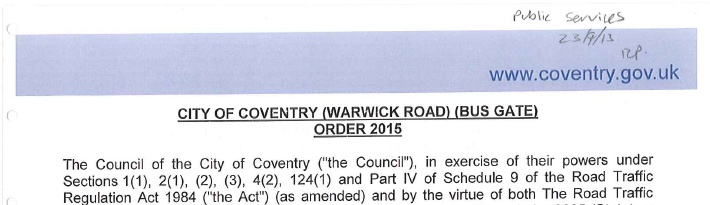 The original TRO order for the Warwick Road bus gate.