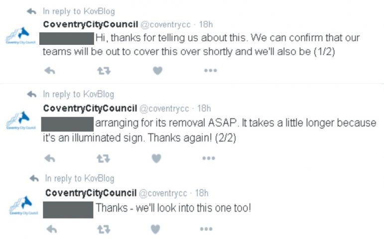 Council tweets confirming they would look into and remove the incorrect signage.