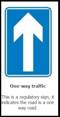 The sign signals a one-way traffic street. s