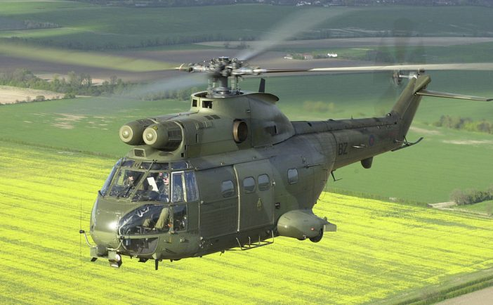 A Royal Air Force Puma helicopter over the English countryside. By Sgt Jack Pritchard CCL